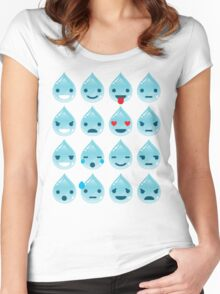 Water Drop Emoji 16 Different Facial Expressions Women's Fitted Scoop T-Shirt