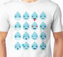 Water Drop Emoji 16 Different Facial Expressions Unisex T-Shirt
