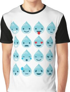 Water Drop Emoji 16 Different Facial Expressions Graphic T-Shirt