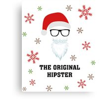 Santa The Original Hipster Funny Sarcastic Christmas TShirt. Canvas Print