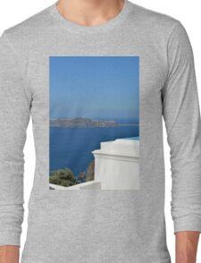 White architecture in Santorini, Greece Long Sleeve T-Shirt