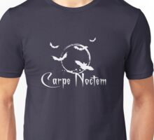 Carpe noctem, seize the night, white text Unisex T-Shirt