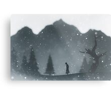 Winter silhouettes with snow falling Metal Print