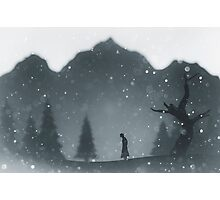 Winter silhouettes with snow falling Photographic Print