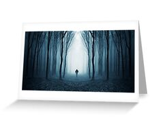 Man in surreal forest with fog on Halloween Greeting Card