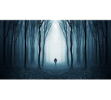 Man in surreal forest with fog on Halloween Photographic Print