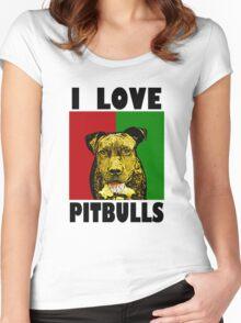 I Love Pitbulls, Black Font Women's Fitted Scoop T-Shirt