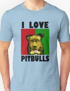 I Love Pitbulls, Black Font Unisex T-Shirt