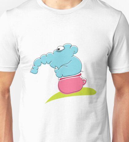 Funny blue elephant sitting on pink toilet Unisex T-Shirt
