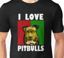 I Love Pitbulls, White Font Unisex T-Shirt