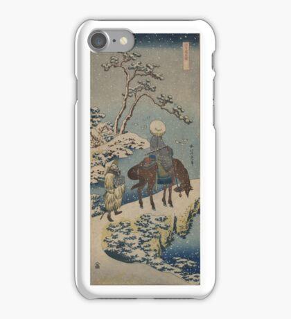 Two travelers, one on horseback - Hokusai Katsushika - 1890 iPhone Case/Skin