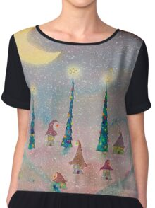 Christmas Night Village in the Snow Chiffon Top