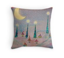 Christmas Night Village in the Snow Throw Pillow