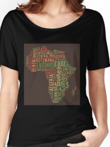 Africa Typography Map All Countries Women's Relaxed Fit T-Shirt