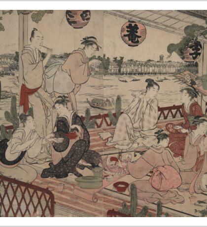 The restaurant Shikian of Nakazu - Shunman Kubo - 1784 Sticker