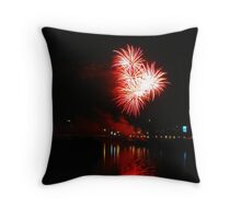 Red fireworks over the river Throw Pillow