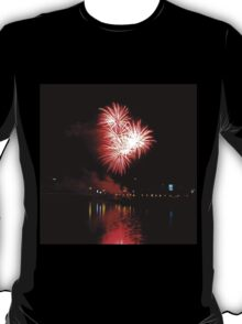 Red fireworks over the river T-Shirt