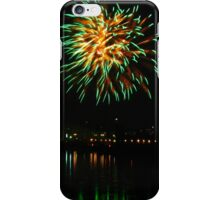 Green fireworks over the river iPhone Case/Skin