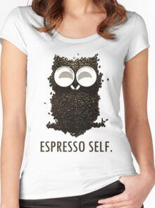Espresso Self w/ text Women's Fitted Scoop T-Shirt