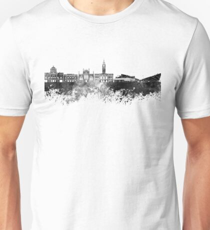 Kingston Upon Hull skyline in black watercolor Unisex T-Shirt