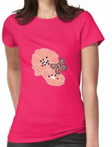 Butterflies and flowers pattern 001 Womens Fitted T-Shirt