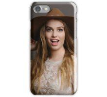 Woman wearing brown hat iPhone Case/Skin