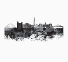 Newcastle skyline in black watercolor Kids Tee