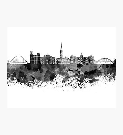 Newcastle skyline in black watercolor Photographic Print