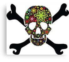 Black skull with flowers inside Canvas Print