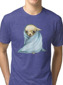 Chihuahua Wrapped in a Blanket Tri-blend T-Shirt