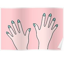 Simple Pink Pastel Manicured Hands Poster