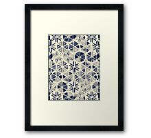 Hand Painted Triangle & Honeycomb Ink Pattern - indigo & cream Framed Print