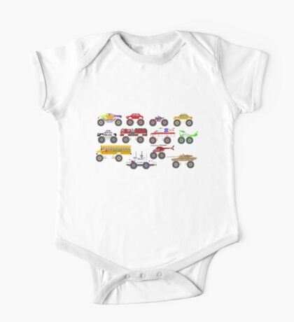 Monster Vehicles - The Kids' Picture Show - Pixel Art One Piece - Short Sleeve