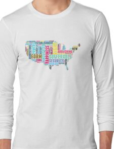 United States Map Declaration of Independence Typography Long Sleeve T-Shirt