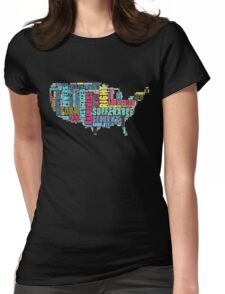 United States Map Declaration of Independence Typography Womens Fitted T-Shirt