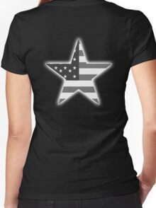 AMERICAN, STAR, Stars & Stripes, America, US, USA, BW on Black  Women's Fitted V-Neck T-Shirt