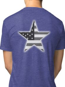 AMERICAN, STAR, Stars & Stripes, America, US, USA, BW on Black  Tri-blend T-Shirt