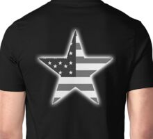AMERICAN, STAR, Stars & Stripes, America, US, USA, BW on Black  Unisex T-Shirt