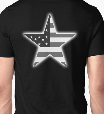AMERICAN, STAR, Stars & Stripes, America, US, USA, BW on Black  Unisex T-Shirt