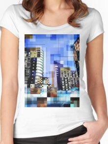 Retro City Tower Tiles Women's Fitted Scoop T-Shirt