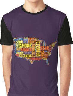 United States of America Map Star Spangled Banner Typography Graphic T-Shirt
