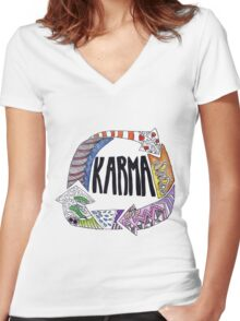 Karma Women's Fitted V-Neck T-Shirt
