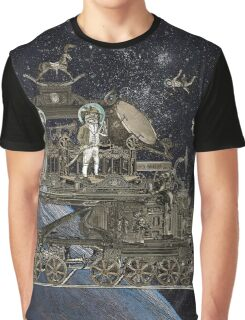 Space Cat Train Graphic T-Shirt