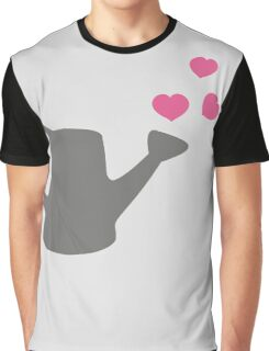 I love my Garden - Watering Can with Pink Hearts Graphic T-Shirt