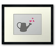 I love my Garden - Watering Can with Pink Hearts Framed Print