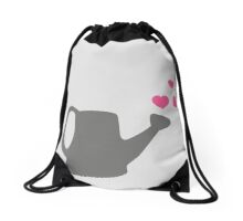 I love my Garden - Watering Can with Pink Hearts Drawstring Bag