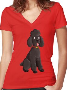 Cartoon Poodle Women's Fitted V-Neck T-Shirt