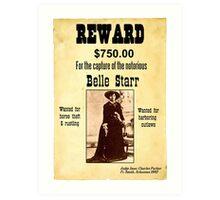 Belle Starr Wanted Poster Art Print