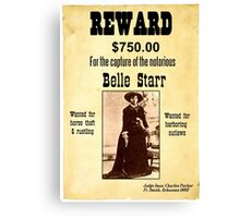 Belle Starr Wanted Poster Canvas Print