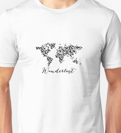 Wanderlust, world map with flying birds Unisex T-Shirt